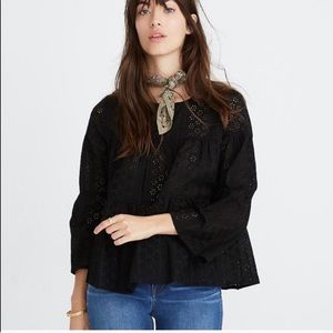 Madewell Eyelet Tiered Button Back Black Top 3X